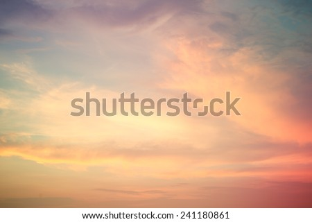 beautiful sky after sunset .Vintage filter effect used. - stock photo