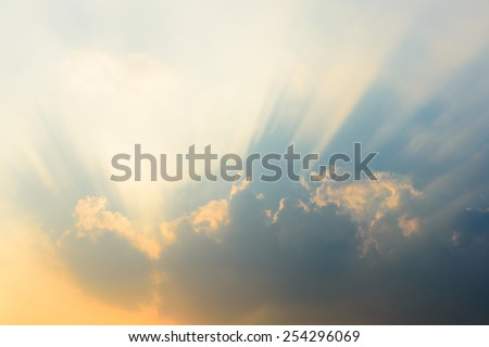 Beautiful sky and clouds. Sun rays