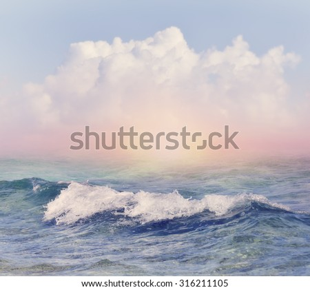Beautiful Sky and Sea Background - stock photo