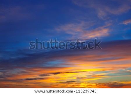 Beautiful sky at sunrise. Nature composition - stock photo
