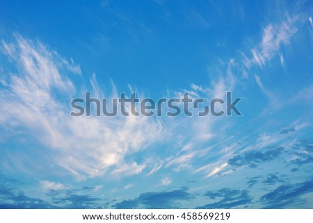 beautiful sky at sunset with light Cirrus cloud in the form of angel wings