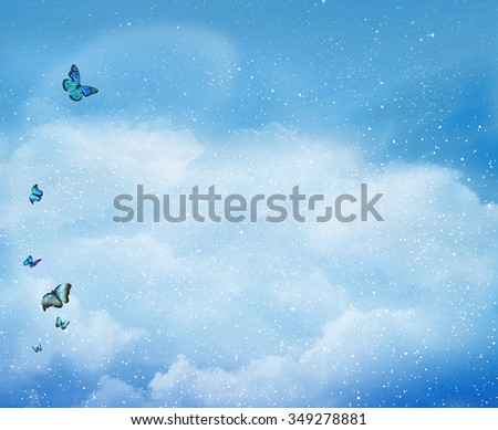 Beautiful sky background with butterfly - stock photo