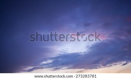 Beautiful sky before the rain. Clear weather gives way to the cloud, before the rain into the sunset. - stock photo