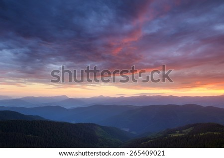 Beautiful sky. Dawn in the mountains. summer landscape - stock photo