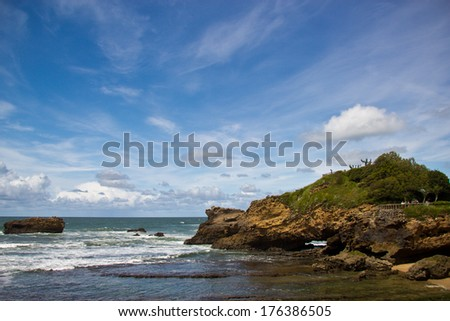 beautiful sky over Bay of Biscay - stock photo