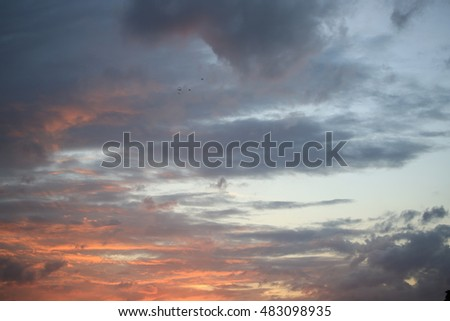 Beautiful sky , Sunset Sky Background , Colorful sky in twilight time background