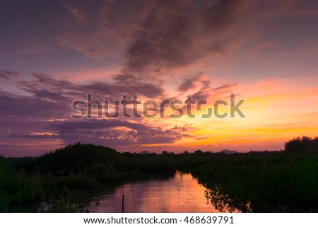 beautiful sky when  sunset with reflection in canal