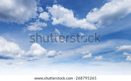 beautiful sky with big white clouds