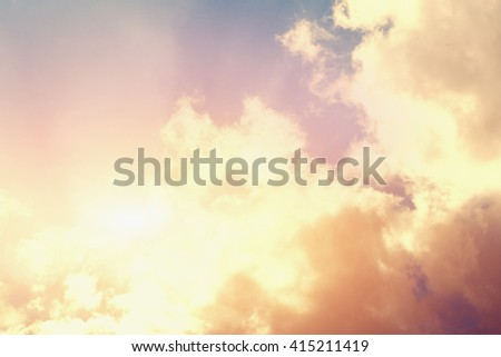 Beautiful sky with clouds and sunlight - stock photo