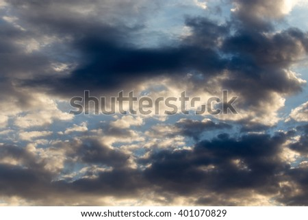 beautiful sky with clouds at dawn - stock photo