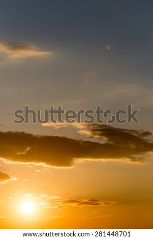 beautiful sky with clouds at sunset - stock photo