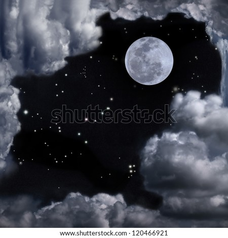 Beautiful sky with full moon, stars, some constellation and fantasy cloudy - stock photo