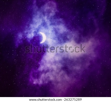Beautiful sky with stars and crescent  - stock photo