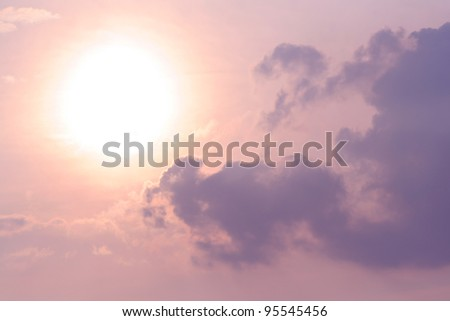 Beautiful Sky with Sun and Clouds - stock photo