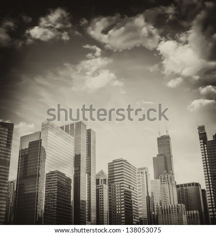 Beautiful skyline of Chicago Buildings and Skyscrapers, Illinois. - stock photo