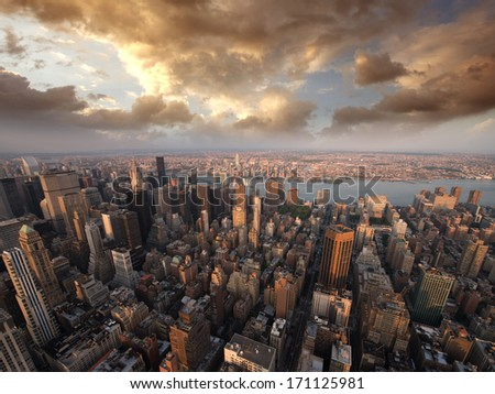 Beautiful skyline of Manhattan skyscrapers in the summer evening. - stock photo