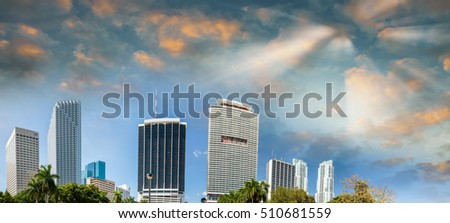 Beautiful skyline of Miami on a sunny day.