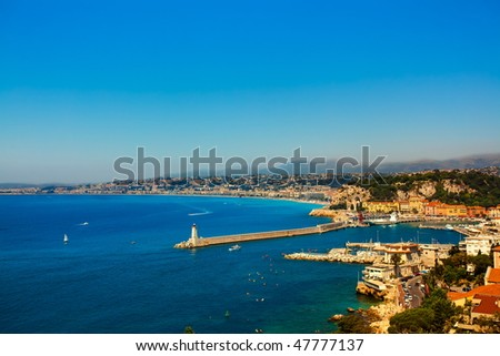 beautiful skyline of nice cote d'azur on the french riviera france - stock photo