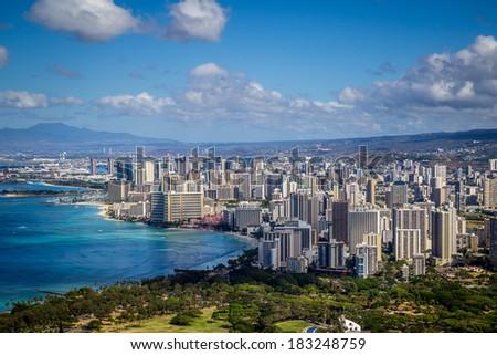 Beautiful Skyline of Oahu,Hawaii - stock photo