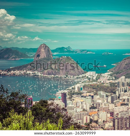 Beautiful skyline view of Rio de Janeiro, Brazil - stock photo