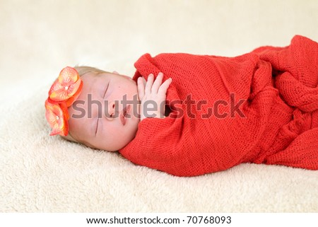 Beautiful sleeping newborn - stock photo