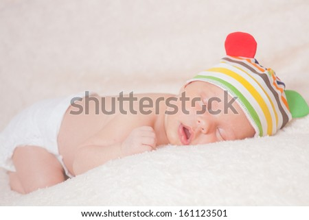 beautiful sleeping newborn baby - stock photo
