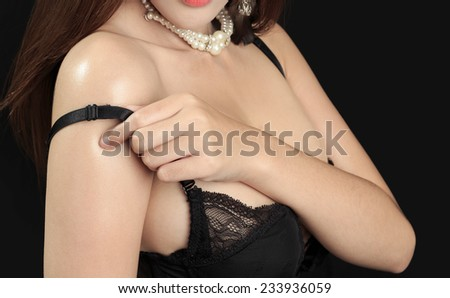 Beautiful slim body of woman - in studio
