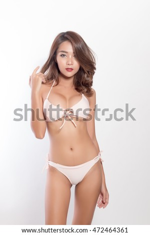 Beautiful slim body of woman in studio,