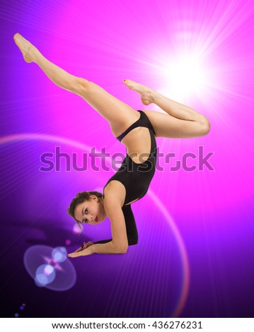 Beautiful slim girl gymnast. modern style ballet dancer posing and jumping on training. Young sexy woman exercise pole dance against. young, cute and beautiful ballet dancer posing. - stock photo