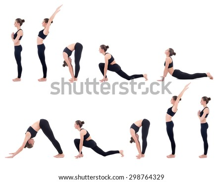 beautiful slim woman in yoga sun salutation sequence poses isolated on white background - stock photo