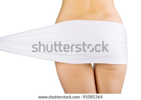 Beautiful slim woman's body isolated on white background - stock photo