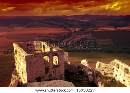 Beautiful Slovakian Spissky castle at sunset with dramatic sky
