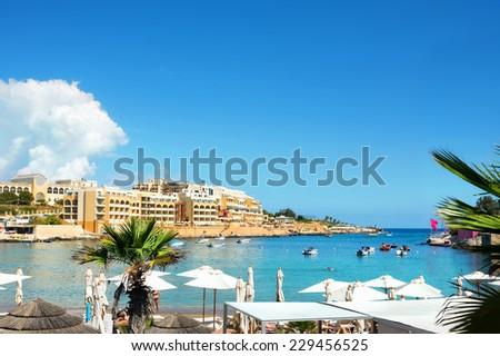 Beautiful small beach in Malta - stock photo