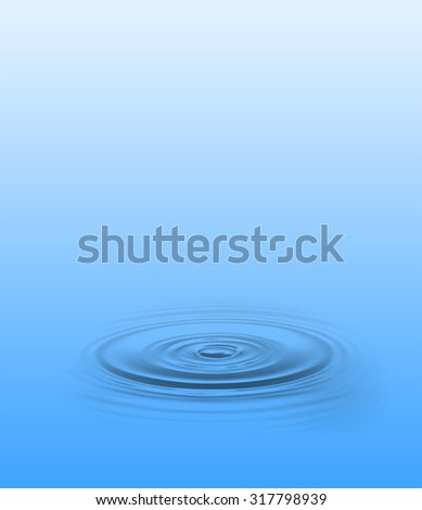 Beautiful small circular ripple with a blue background.