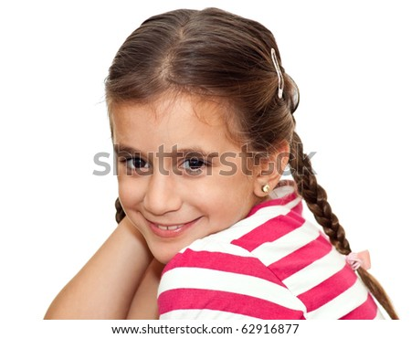 Beautiful small girl with braids smiling isolated on a white background - stock photo