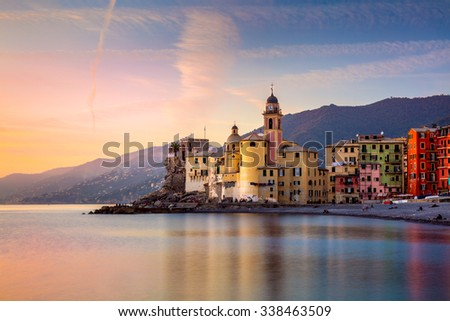 Beautiful Small Mediterranean Town at the sunrise time - Camogli, Italy, European travel - stock photo