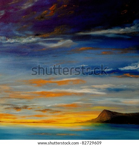 Beautiful Small scale Original Oil Painting On Canvas - stock photo