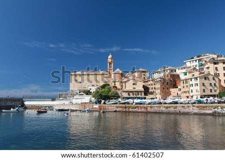 beautiful small town with a small harbor near Genova, Italy - stock photo