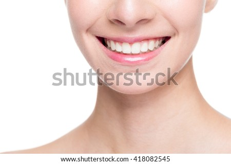 Beautiful smile with whitening teeth - stock photo