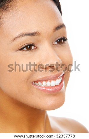 Beautiful smile young  woman. Isolated over white background