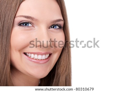 beautiful smile young woman with great healthy teeth