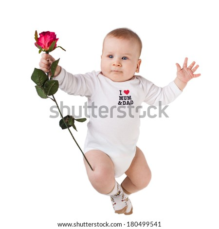 beautiful smiling baby boy with red rose isolated. selective focus - stock photo