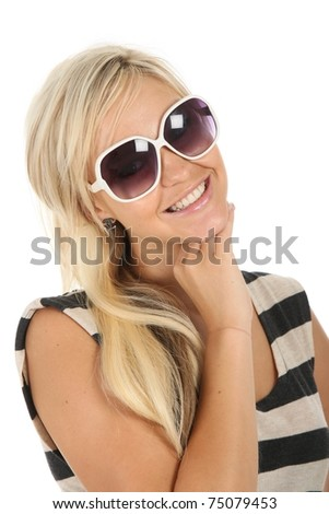Beautiful smiling blond lady with large white rimmed sunglasses - stock photo