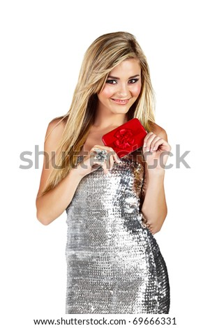 beautiful smiling blond woman in silver minidress holding red gift box isoltaed on white - stock photo
