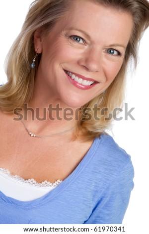 Beautiful smiling blond woman portrait - stock photo