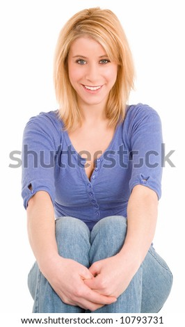 Beautiful Smiling Blonde Lady Sitting Down