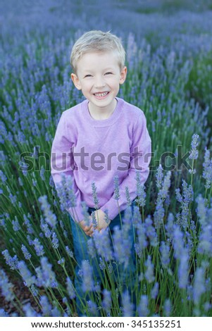 beautiful smiling boy walking at the gorgeous blooming lavender field - stock photo