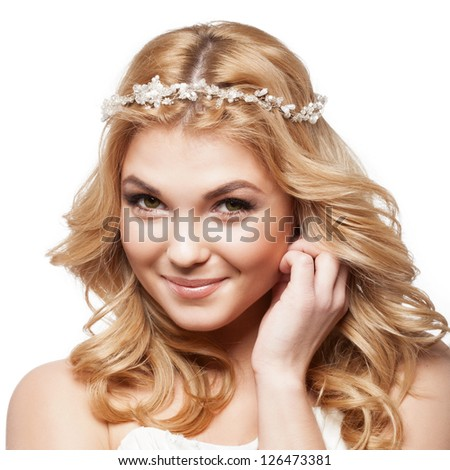 Beautiful smiling bride with beauty wedding coiffure - stock photo