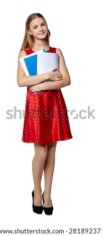 Beautiful smiling business woman in the red, with documents, isolated on a white background