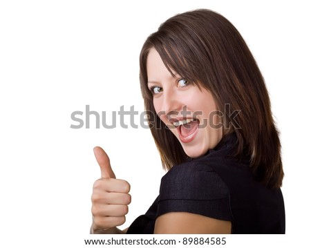 Beautiful smiling business woman showing thumbs up, isolated on white background - stock photo